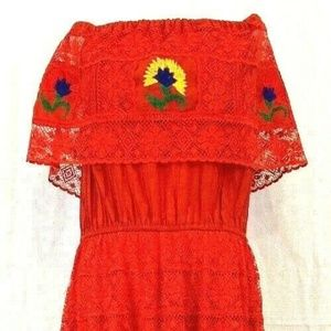 Mexican Peasant Dress Size M / L Red Floral